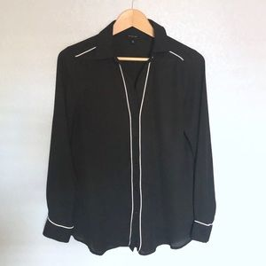 PIPED LONG SLEEVE BLOUSE